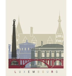 Luxembourg skyline poster vector image vector image