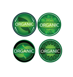 Round green leaf organic label icon set vector