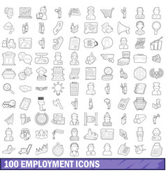 100 employment icons set outline style vector image
