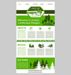 landing page template for landscape design website vector image