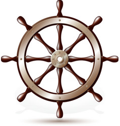 Steering wheel for ship vector image