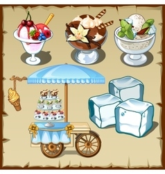 Tasty ice cream and outdoor table on wheels vector image vector image