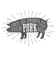 Vintage typographic premium pork meat label vector image vector image