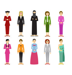 set of cute woman with traditional dress in flat vector image vector image