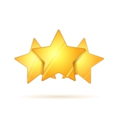 Three glossy golden rating stars with shadow on vector image vector image