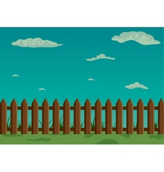 Wooden fence and green grass with sky vector image