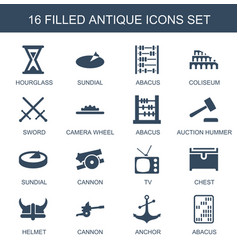 16 antique icons vector