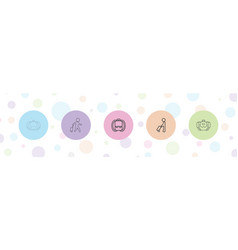 5 backpack icons vector