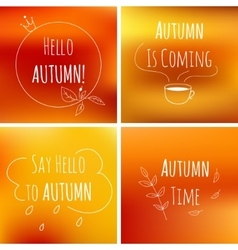 Autumn typography elements on orange blurred vector