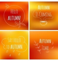 autumn typography elements on orange blurred vector image
