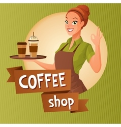 Barista waitress with cups coffee showing ok sign vector image