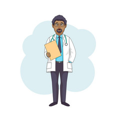 Black doctor professor talking in white coat vector