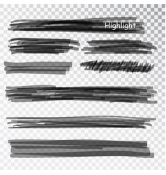 black highlight marker stripes isolated on white vector image