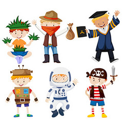 Boys in different costumes vector