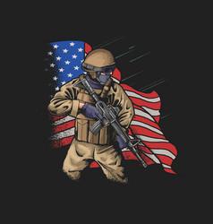 Brave american soldier veterans day v vector