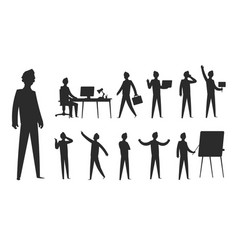 Business people silhouette businessman stand vector