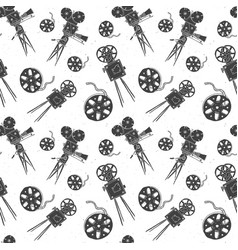 camera and film reel vintage seamless pattern vector image