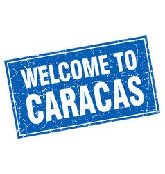 Caracas blue square grunge welcome to stamp vector