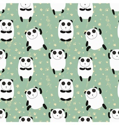 Cartoon pattern with cute panda guru vector