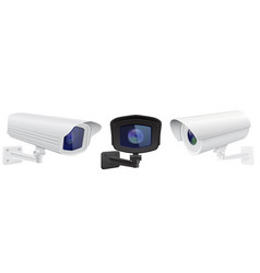 cctv security camera set of surveillance devices vector image