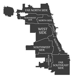 Chicago city map usa labelled black vector