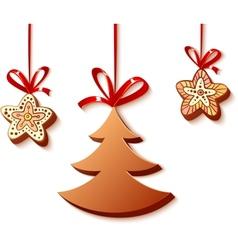 christmas honey-cakes on white vector image