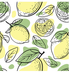 Citrus abstract delicious fruit hand drawn vector
