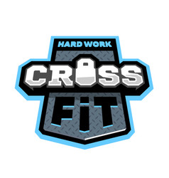 cross fitness sport logo emblem vector image