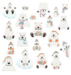 cute polar bear sticker set elements for vector image