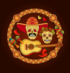 Day of the dead card skulls and guitar vector