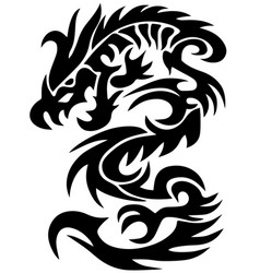 dragon tattoo tribal dragon black and white dragon vector image