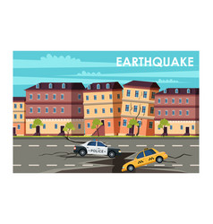 Earthquake in town flat vector