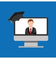 Education online global man teacher lesson vector