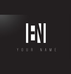 en letter logo with black and white negative vector image