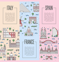 European travel tour posters in linear style vector