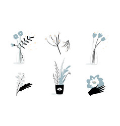 feminine symbols and florals botanical logo tattoo vector image