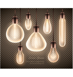 figure set of a luminous light bulb on a vector image