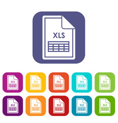 file xls icons set vector image