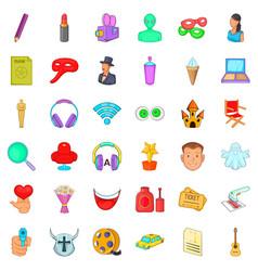 film on screen icons set cartoon style vector image