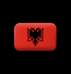 Flag of albania matted icon and button rounded vector