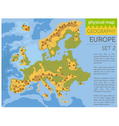 Flat europe physical map constructor elements on vector