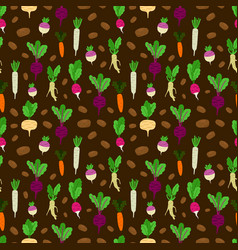 fresh roots colored vegetables seamless vector image