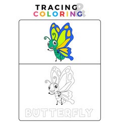 Funny butterfly tracing and coloring book with vector