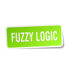 Fuzzy logic square sticker on white vector