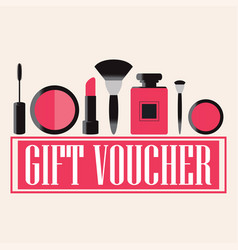 Gift voucher of makeup cosmetics vector
