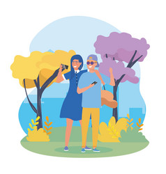 girls and boy couple with casual clothes vector image