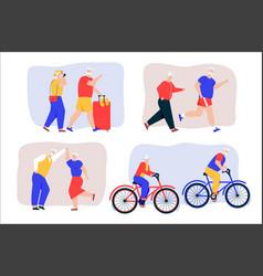 grandparents active lifestyle scenes set vector image