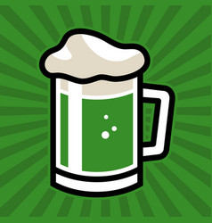Green irish beer mug icon vector