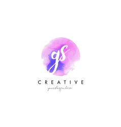 Gs watercolor letter logo design with purple vector