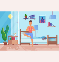 Handsome man morning exercises flat vector